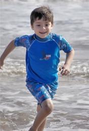 Wholesale BONZ Boys Two piece UV Sunsuit Sets Short Sleeve Rash Top shorts UPF Sun Protection