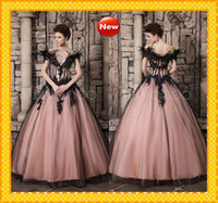 Wholesale 2014 Ostrich Feathers Black Gothic Queen Short Sleeve Ball Gown Wedding Dresses Victorian Luxury Style Vintage Halloween Party Evening Gowns