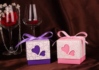 heart model - 1000pcs Popular Model Wedding Favors Candy Box Purple Pink Heart Design Favor Box New Fashion Hot style