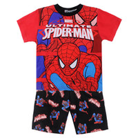 Cheap top fashion cartoon spiderman pyjama sets baby kids clothing 100 cotton children pajamas suits baby boys sleepwear summer homewear 6sets lot