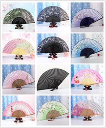 Wholesale 26 Styles Beautiful Best Selling Chinese Silk Bamboo Hand Fans Wedding Fan Bridal Accessories Free Gift