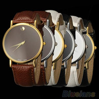 Wholesale New Fashion Women s Men s Geneva Minimalism leather band Wrist Watch WR