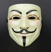 Wholesale 2015 NEW V for Vendetta Mask with Eyeliner Nostril Anonymous Guy Fawkes Fancy Adult Costume Accessory Halloween Mask LJJA763