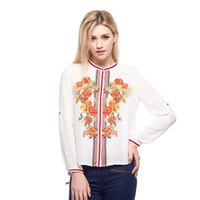 Cheap New 2014 Fashion Brand Women Blouse Full Sleeve Flower Print Ladies' Chiffon Shirt Women Tops For Women Clothing In Stock