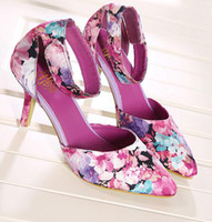 pink ladies shoes - woman high stiletto heel platform pumps ladies shoes sexy flowers printed shoes dress shoes pink blue hot sell chq333