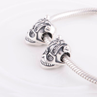 Necklace european beads free shipping - Skull Charm Crystal Bead Silver Skull Charm fit European Bracelets No YZ518