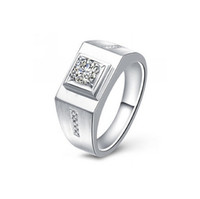 Wholesale Promotions sterling Silver Platinum plated fashion Gorgeous MEN Austrian Zircon Crystal Beautiful pretty Wedding MEN ring jewelry