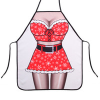 Wholesale Products For The Kitchen cm cm Xmas Sexy Woman D Print Santa Personalized Funny Cooking BBQ Aprons Kitchen Bib Apron For The New Year