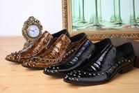 Wholesale men s fashion rivet patent leather dress shoes