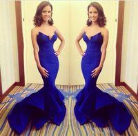 Wholesale Latest Rocsi Diaz Emmy Awards Royal Blue Mermaid celebrity Long Evening Dresses Long Split michael costello Engagement wedding gowns