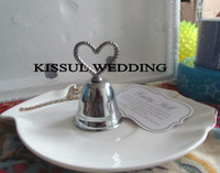 Wholesale Silver Heart Kissing Bell Place Card Holder Wedding gifts with matching name card for Event Favors Express