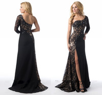 Wholesale 2015 New Glamorous Mermaid Evening Dresses With One Shoulder Long Sleeve Bead Crystal Split Side Sweep Train Lace Women Evening Dresses