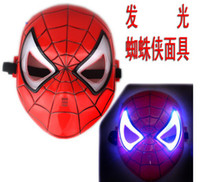 Wholesale Cosplay Glowing Spiderman Spider Man Mask With Blue LED Eyes Make Up Toy For Kids Boys