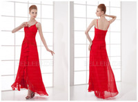 Wholesale Red Brilliant New A line Spaghetti Chiffon Appliques Ruffles Ankle length Long Prom Dresses Formal Evening Dress Gown Gowns