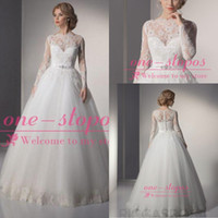 Wholesale 2014 Ball Gown Wedding Dresses Jewel Neck Long Sleeves Sheer Appliques Lace Crystal Beads Sash Covered Button Back Bridal Gowns BO5884