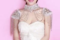 Wholesale Neu High Quality Bride Shoulder Chain Bridal Crystals Lace Wraps Wedding Bridal fashion Necklace Jewelry Rhinestones Noble romance Vintage