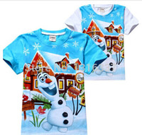 Cheap 2-8 Years Kids Boys Girls Tee Cute Frozen HOT Olaf Everyday Tops T-Shirts