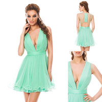 Cheap WOW ! Sexy 2014 Cocktail Dress V Neckline A Line Short Mini Sheer Covered Button Back Pleated Simple Chiffon Prom Party Dress Custom Made