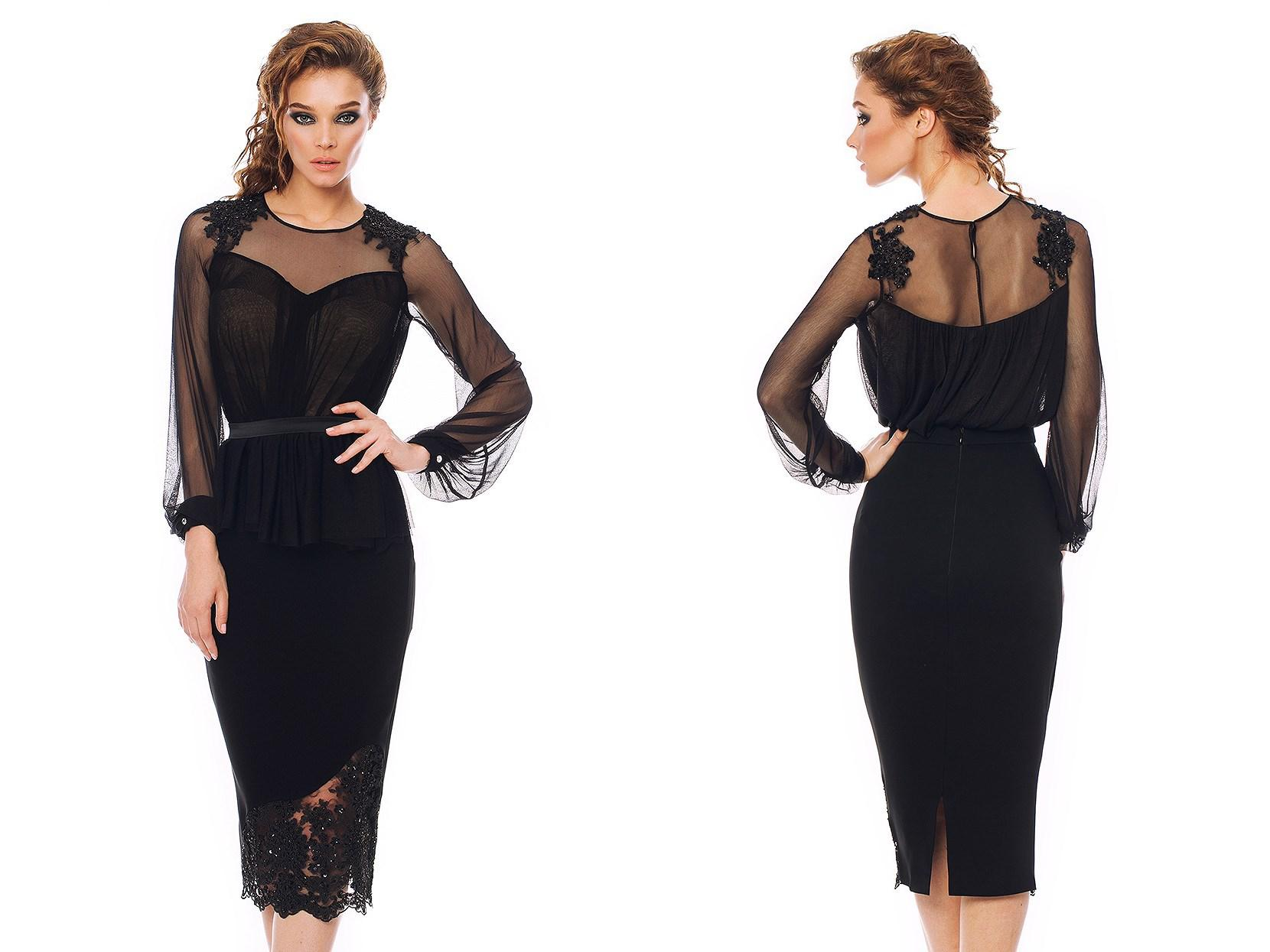 Wedding Sexy Cocktail Dresses black sexy cocktail dresses jewel neckline sheer back long sleeve tea length sheath pleated appliqued lace prom party dress custo