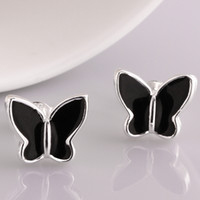 Wholesale Black Butterfly Paint solid silver stud earrings e563 Fashion New Jewelry