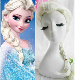 Frozen wig popular cartoon girl Hair Wigs children Cosplay Wigs Elsa princess white fluffy long hair single plait