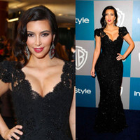 Cheap Sexy Black Lace Kim Kardashian 2014 Mermaid Prom Dresses with V Neck Short Sleeve Applique Floor-Length Red Carpet Formal Celebrity Gowns