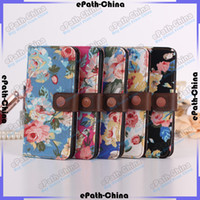 Wholesale Rose Flower Patterns PU Leather Stand Wallet Case Covers For iPhone6 quot Plus quot