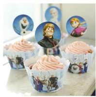 Wholesale New Frozen Cupcake Wrapper Topper Set Kids Birthday Party Supplies Wedding Baby Shower Favors Cake Cases