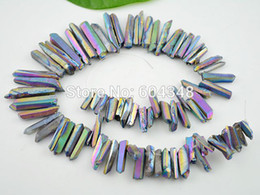Titanium Rainbow Quartz Sticks Crystal Points Spikes Drilled Briolettes Rough Beads 16 inch Strand 15 -39 mm