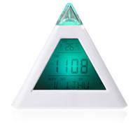 triangle music - LED color change Digital Alarm Clock Triangle Pyramid music Calendar Voice ZKT