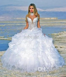 Wholesale 2015 White Sweetheart In Stock Wedding Dresses Beads Sequins Ball Gown Full Length Beach Real Photo Cheap Fashion Bridal Gowns