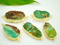Wholesale 3pcs Charm Natural Australia Jade Connector Beads Green color Gem Stone Fashion Druzy Connector Findings Pendant