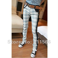 asian skinny jeans - New Fashion Mens Pants Slim fit long Jeans wear jeans Scotland plaid color Asian size K008