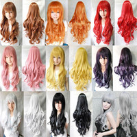 Cheap Fashion New 9color Heat Resistant 80cm Women Girl Sexy Long Black Red Wavy Curly Cosplay Party Dress Full Wig