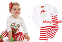 baby girl christmas stockings - 9 off in stock New Year Christmas clothes Baby Girls Boy T shirt striped pants suit DROP SHIPPING hot sale on sale DM