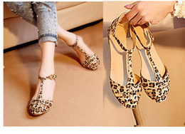 Wholesale Leopard Print Flat Heel Women s Sandals Summer Women Shoes Fashion Sweet Sandals Sizes SW031