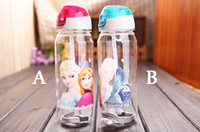 glass water bottles - Big discount Children Cup Cartoon Frozen Elsa Anna PP Texture Suction Cup with drinking straw water bottle