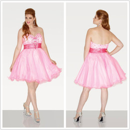 Wholesale Plus Size Homecoming Dresses Organza Sweetheart Tiered Sequins Beading Knee Length Sleeveless A Line Zipper Beauty Party Bridesmaid Dresses