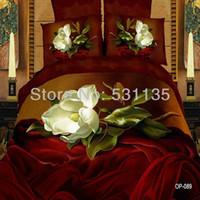 Cheap white flower bedding set 4pcs 3D oil painting duvet quilt comforters cover bedsheets bed linen 100% cotton for king queen size