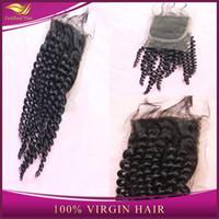 Cheap Top quality Cheap Top Lace Closure 4X4 Unprocessed Brazilian Peruvian Malaysian Indian Virgin Human Kinky Curly Hair 8-20inch Grade 6A