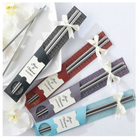Wholesale 22 cm Stainless travel Steel Chopsticks in Artistic Sleeve wedding favor gift