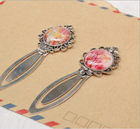 Wholesale Exquisite glass gem bookmarks fashion ancient silver bookmarks enter a higher school gift sq05
