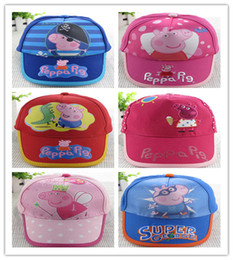 Wholesale 10pcs New Fashion peppa George red Summer Baseball Cap Children Cartoon Peppa Pig Hats for Kids styles can choose