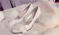 beaded ankle boots - Hot Sale New White Lace Bridal Wedding Shoes Beads Wedding Dress Bridesmaid Shoes Hasp Beaded Prom Evening Party Ladies Bridal Wedding shose