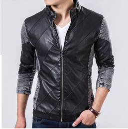 Wholesale 2015 new men s Leather Jacket Mens PU motorcycle Men s leathers Korean cultivating male tide stitching leatherSIZE M XXXXL