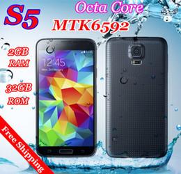 Wholesale Fingerprint Heart beat sensor Waterproof S5 Phone MTK6592 i9600 phone Octa Core Ram GB Rom GB GHz Android4 OS quot MP mobile phone