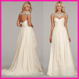 Wholesale Hot Selling White wedding dress silk georgette natural a line grecian draped ruffle alabaster crystal chapel