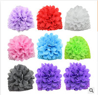 Wholesale 8 styles Baby Caps Girls Knitted Hats Chiffon Flower Baby Hats Newborn Photography Props frozenc617