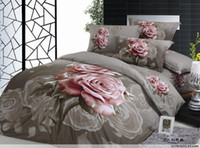 Wholesale Sex Gray and pink rose bedding Oil Painting TC pink rose comforter sets size of Queen Full EMS