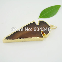 Wholesale 5 Arrow kt Gold plated Edge Agate Arrow in Natural color Druzy Stone Connectors Gemstone Pendant for Necklace